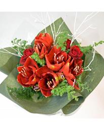還暦祝い アマリリスの花束 クリスマス風